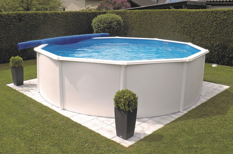 pool shop.at   Stahlwandbecken Steely de luxe rund 200,200 x 200,20 weiss ...