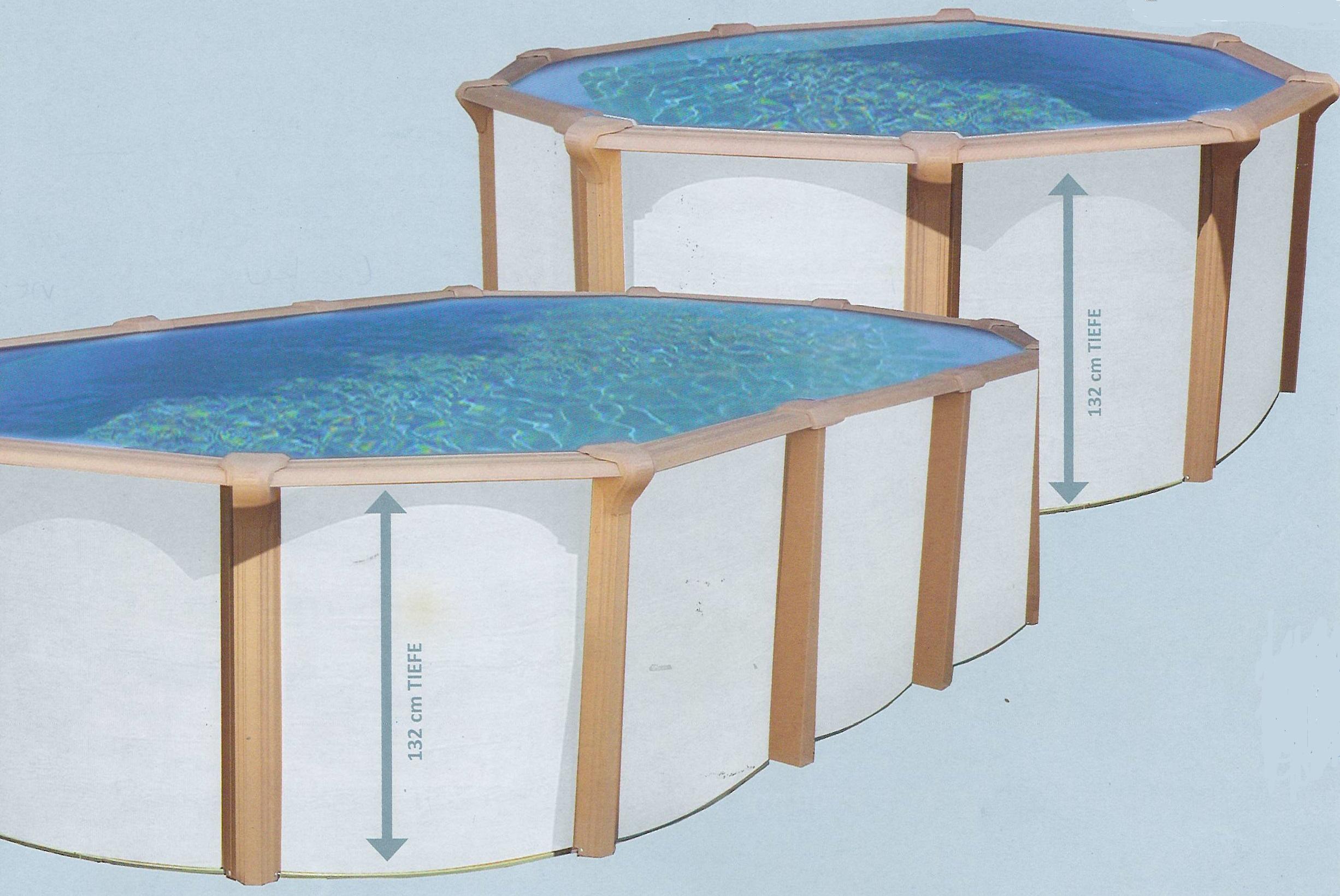 pool shop.at   Stahlwandbecken Premium oval 20,20x20,20m white wood ...